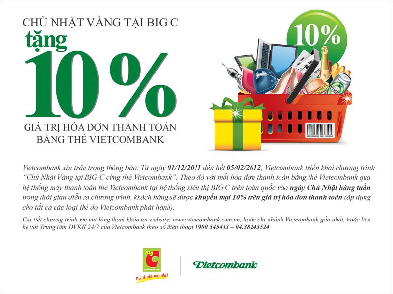 Chủ nhật vàng tại BigC tặng 10% giá trị hóa đơn